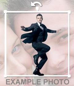 Fotomontagem com o cantor Justin Timberlake para inserir em suas fotos