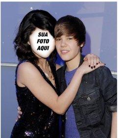 Fotomontagem de Justin Bieber com uma menina para colocar o seu rosto
