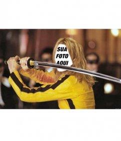 Fotomontagem para colocar seu rosto em que a atriz Uma Thurman em Kill Bill