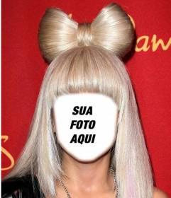 Vestir-se como Lady Gaga, com seu cabelo loiro com esta fotomontagem