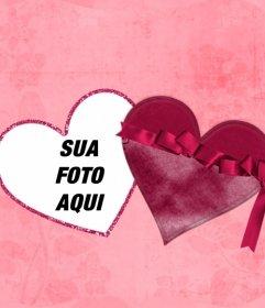 Efeito on-line de uma foto dentro de um coração como se fosse uma caixa com fundo rosa