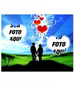 Marco online com dois corações e fundo de um casal