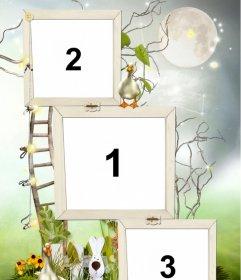 Moldura para 3 fotos com dois patinhos decoração, um coelho e uma escada que parece subir à Lua
