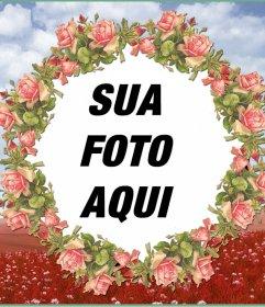Moldura com uma ilustração de flores cor de rosa para suas fotos
