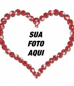 Photo frame on-line de uma forma de coração e brilhantes diamantes