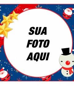 Childrens Christmas frame circular para editar com um