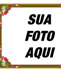 Border para fotos com flores decorativas que você pode editar em linha