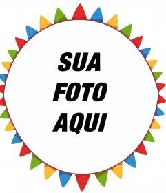 Moldura colorida livre para sua foto com flâmulas do partido