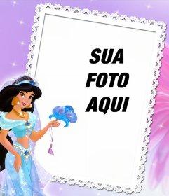 Quadro para editar com sua foto e estar com a princesa Jasmine de Aladin
