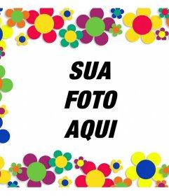 Frame de retrato com muitas flores coloridas para decorar suas fotos