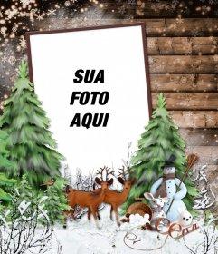 Moldura com uma paisagem de inverno com neve, um veado e um boneco de neve