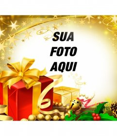 Moldura para presentes de Natal e reflexos dourados