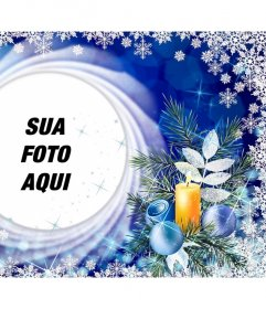 Cartão de Natal com flocos de neve para colocar sua foto em um círculo