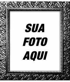 Moldura digital com o Real preto banhado texturizado para decorar suas fotos online