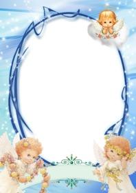 Coloque sua foto neste quadro decorado com 3 anjos