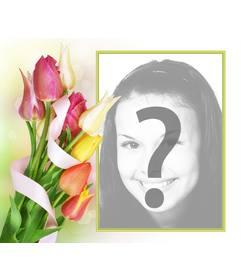 Frame da foto de tulipas coloridas