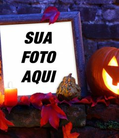Frame de retrato do Dia das Bruxas com uma abóbora para sua foto