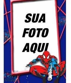 Crianças quadro com Spiderman vermelho e azul em uma teia