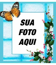 Quadro sua foto com flores e borboleta em um fundo azul