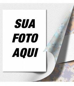 Colagem com flores de papel de embrulho especial para colocar um presente da foto. Dê sua foto