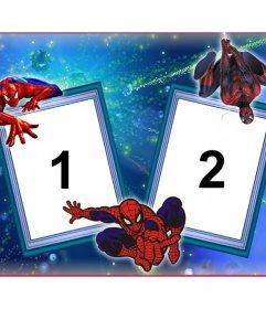 Quadro de duas fotos com Homem-Aranha e sua teia de aranha
