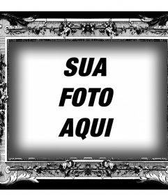 Moldura em preto e branco com estilo vitoriano para suas fotos