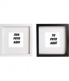 Criar colagem online com duas molduras quadrados pretos e brancos para colocar suas imagens e adicionar texto