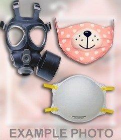 Etiqueta em linha de uma máscara de gás para inserir em suas fotos