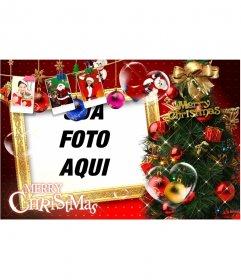 Cartão de Natal com belas decorações de Natal, presentes, fotos do Papai Noel e presentes. Pare cartões de Natal com sua foto