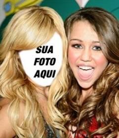 Fotomontagem onde você pode colocar seu rosto em Ashley Tisdale com Miley Cyrus