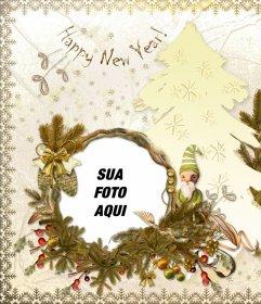 Cartão clássico para editar e o texto Feliz Ano Novo
