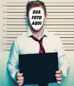 Montagem para colocar seu rosto e olhar como um criminoso com um cartaz Carregar