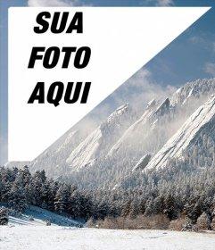 Cartão postal de uma paisagem de neve Denver com sua