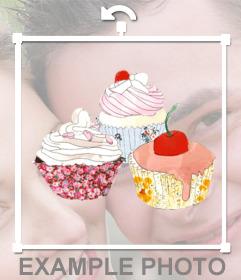 Etiqueta com um desenho de três cupcakes de