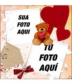 Postal para fazer on-line para duas fotos, com uma decoração de um ursinho de pelúcia, corações e letras