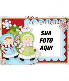 Ilustrado cartão de Natal com as duas meninas que jogam para decorar a sua foto