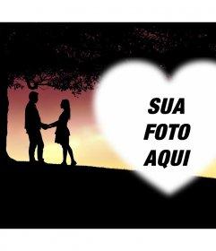 Cartão com dois amantes para adicionar sua foto dentro de um coração
