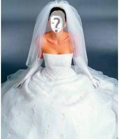 Vestir a noiva com um vestido branco com esta montagem de fotos