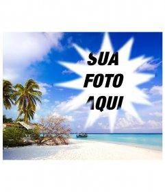 Inclui uma imagem emoldurada no presente Caribe aparentemente idílico, onde vemos, sob um céu azul com nuvens brancas da praia de areia fina sobre a qual há um abrigo improvisado entre as várias árvores, arbustos e palmeiras. Na água, azul turquesa muito calmas, o que indica rasas perto da praia, vemos uma barcaça