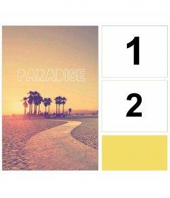 Moldura para duas fotos com fundo indie, um paraíso de palmeiras