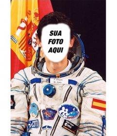 Efeito da foto onde você pode colocar seu rosto no corpo de Pedro Duque, astronauta espanhol