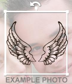 Etiqueta do tatuagem com asas de anjo para colar em suas fotos
