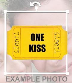 Um beijo bilhete dourado para adicionar em suas fotos