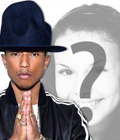 Sua foto com o cantor Pharrell Williams