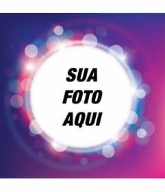 Moldura com brilhante roxo e lilás brilham com forma circular para colocar a sua foto e adicione o texto de forma gratuita