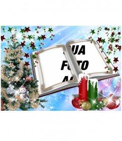 Cartão de Natal com uma montagem em forma de livro com enfeites