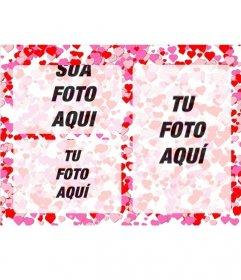 Moldura para 3 fotos de amor com pequenos corações vermelhos e rosas sobre fundo branco
