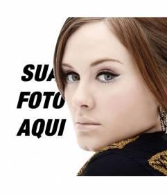 Fotomontagem com a cantora Adele em que você pode tirar uma foto com o seu retrato e sua e adicionar texto