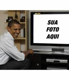 Fotomontagem para colocar Barack Obama com sua foto onde o presidente aparece em uma televisão ao lado dela