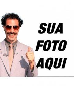Fotomontagem de Borat com a sua * Hammock da banana * verde e óculos de sol